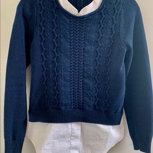 Blue and White Sweater.